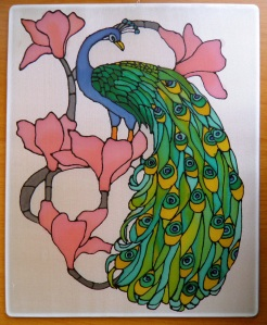 peacock silk painting